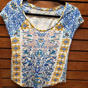 Lucky Brand XS blue/yellow/light pink/white shirt